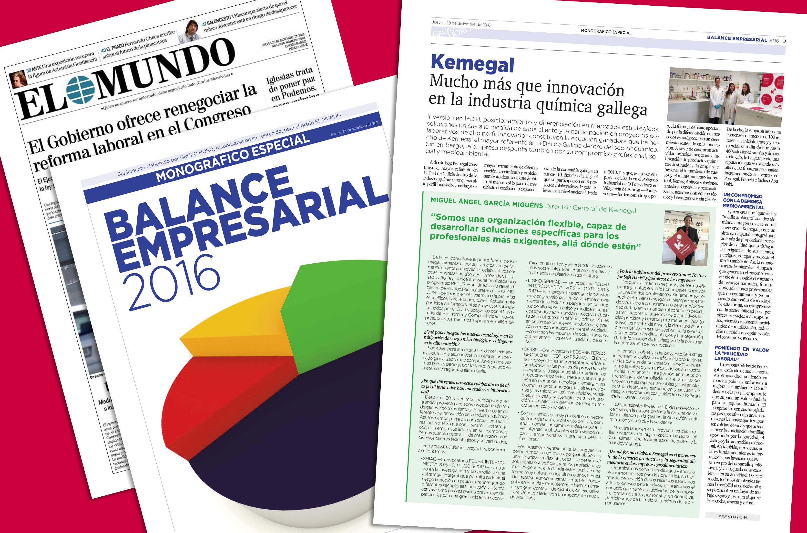 Kemegal, protagonista destacado en el balance empresarial 2016 del diario EL Mundo